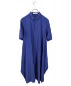 KNOTT(ノット)の古着「キュプラシャツワンピース」|ブルー