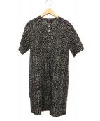 marimekko(マリメッコ)の古着「総柄ブラウスワンピース」|ブラック