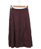 HUMAN WOMAN(ヒューマンウーマン)の古着「ドットジャガードスカート」|ボルドー