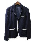COMME des GARCONS HOMME(コムデギャルソンオム)の古着「縮絨パイピングジャケット」 ネイビー