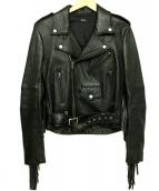 G.V.G.V(ジーヴイジーヴイ)の古着「フリンジライダースジャケット」 ブラック