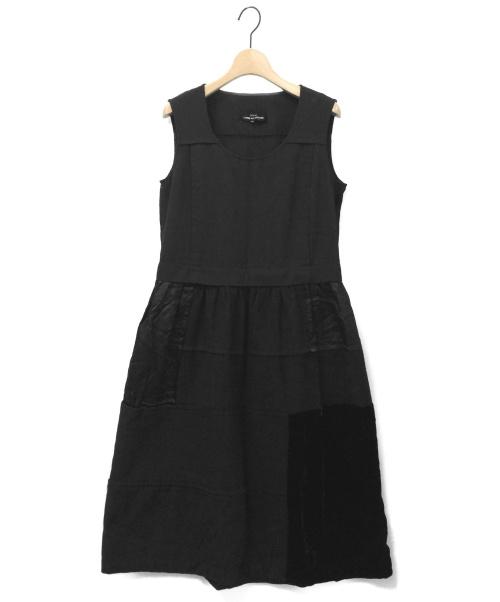 tricot COMME des GARCONS(トリココムデギャルソン)tricot COMME des GARCONS (トリコ コムデギャルソン) パッチワークドッキングワンピース ブラック サイズ:M TT-A002 2007AWの古着・服飾アイテム