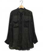 EQUIPMENT(エキップモン)の古着「ストライプシャツ」 ブラック