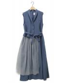 Ameri VINTAGE(アメリビンテージ)の古着「TULLE DOCKING DRESS 」 スカイブルー
