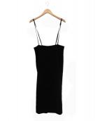 Spick and Span Noble(スピック&スパンノーブル)の古着「トリアセショルダーストラップサロペットスカート」|ブラック