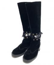 CHANEL(シャネル)の古着「ベロアロングブーツ」|ブラック