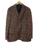 eleventy(イレブンティ)の古着「コットンウールモヘアジャージグレンチェック2Bジャケット」 ボルドー