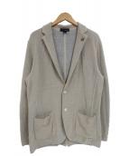 LARDINI(ラルディーニ)の古着「コットンミラノリブソリッド2Bニットジャケット」|ベージュ