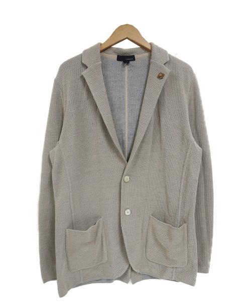 LARDINI(ラルディーニ)LARDINI (ラルディーニ) コットンミラノリブソリッド2Bニットジャケット ベージュ サイズ:M JMLJM19の古着・服飾アイテム