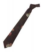 COMME des GARCONS HOMME DEUX(コムデギャルソン オム ドゥ)の古着「フラワージャガードネクタイ」|ブラウン
