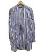 ETRO(エトロ)の古着「バンドカラーロングシャツ」|ブルー
