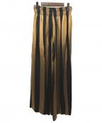 forte forte(フォルテフォルテ)の古着「ストライプワイドパンツ」|ブラック×ブラウン