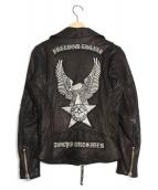 BACK BONE(バックボーン)の古着「刺繍ダブルライダースジャケット」|ブラック
