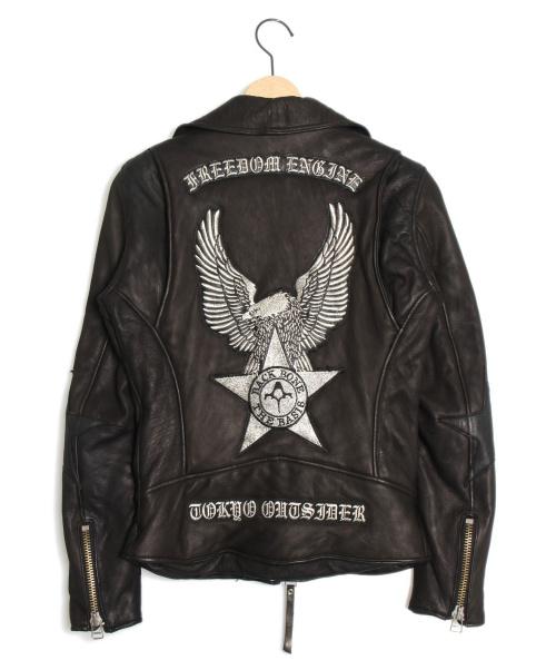 BACK BONE(バックボーン)BACK BONE (バックボーン) 刺繍ダブルライダースジャケット ブラック サイズ:Sの古着・服飾アイテム
