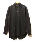 MAISON FLANEUR(メゾン フラネウール)の古着「ウインドペンスタンドカラーシャツ」 ブラック