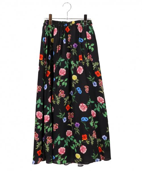 Loulou Willoughby(ルルウィルビー)Loulou Willoughby (ルルウィルビー) フラワーガーデンスカート ブラック サイズ:2の古着・服飾アイテム