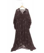 AULA(アウラ)の古着「フラワーシフォンロングワンピース」 ブラウン