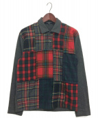 COMME des GARCONS HOMME(コムデギャルソンオム)の古着「プルオーバーパッチワークシャツ」|グレー×レッド