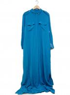 EQUIPMENT(エキップモン)の古着「シルクマキシシャツワンピース」 ブルー