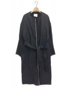CINOH(チノ)の古着「リネンノーカラーコート」|ブラック
