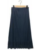 PLEATS PLEASE(プリーツプリーズ)の古着「フリルプリーツマキシスカート」|ネイビー