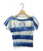 PLEATS PLEASE(プリーツプリーズ)の古着「オフショルダープリーツTシャツ」 ブルー