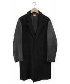 MONKEY TIME(モンキータイム)の古着「スリーブレザーチェスターコート」 ブラック