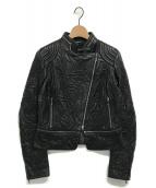 ESCADA(エスカーダ)の古着「レザーライダースジャケット」|ブラック