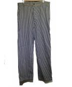 BURGUS PLUS(バーガスプラス)の古着「フレンチワークパンツ ヒッコリー」|ホワイト×ネイビー