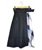 BLUE LABEL CRESTBRIDGE(ブルーレーベルクレストブリッジ)の古着「アシンメトリースカート」|ネイビー