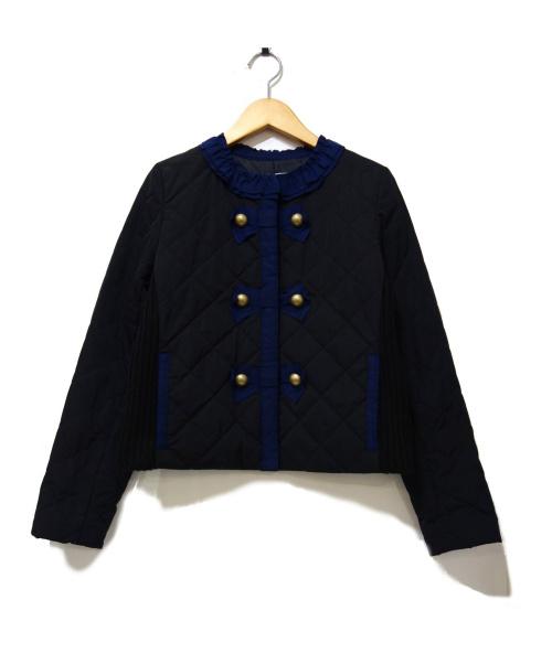 LANVIN en Bleu(ランバンオンブルー)LANVIN en Bleu (ランバンオンブルー) キルティングノーカラージャケット サイズ:38の古着・服飾アイテム