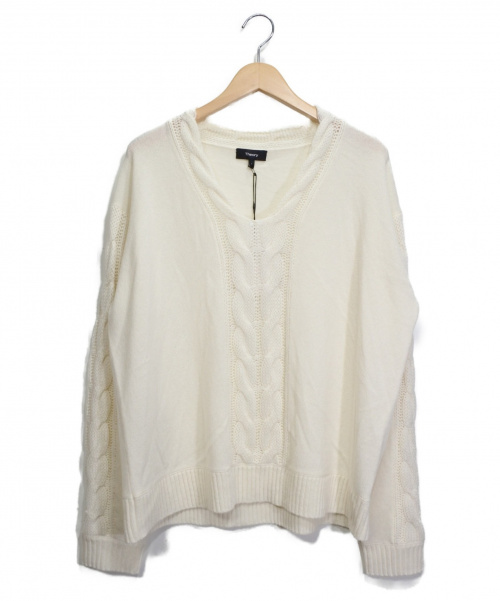 theory(セオリー)theory (セオリー) ウールカシミヤケーブルニット オフホワイト サイズ:Lの古着・服飾アイテム