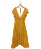 LE CIEL BLEU(ルシェルブルー)の古着「ジョーゼットフルフレアドレスワンピース」|オレンジ