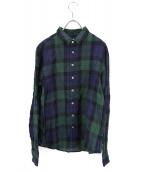 R&D.M.Co-OLDMANS TAILOR(オールドマンズテーラー)の古着「リネンタータンチェックシャツ」|ブラックウォッチ