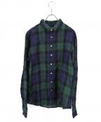 R&D.M.Co-OLDMANS TAILOR(アールアンドディー エム コー オールドマンズテーラー)の古着「リネンタータンチェックシャツ」|ブラックウォッチ