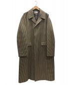 FACTOTUM(ファクトタム)の古着「オーバーチェックステンカラーコート」|ベージュ