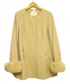 LAISSE PASSE(レッセパッセ)の古着「ミドル丈Aラインコート」|ピンク