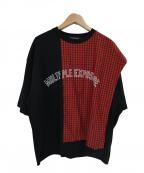 ALMOSTBLACK(オールモストブラック)の古着「チェックスイッチングTシャツ」 ブラック×レッド