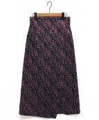 HARDY NOIR(アルディー ノアール)の古着「ラメジャガードハイウエストスカート」|グリーン