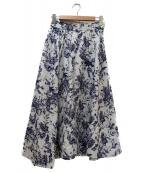 Mila Owen(ミラオーウェン)の古着「デザインヘムウエストシャーリングスカート」|ホワイト