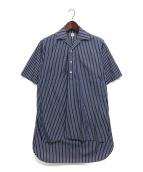 E.TAUTZ(イートウツ)の古着「ストライププルオーバーシャツ」 ネイビー