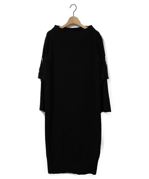 UN3D.(アンスリード)UN3D. (アンスリード) タッセルニットワンピース ブラック サイズ:Fの古着・服飾アイテム