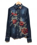 NARA CAMICIE(ナラカミーチェ)の古着「フラワーエンブロイダリー長袖シャツ」 インディゴ