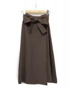 BALLSEY(ボールジィー)の古着「レーヨンリネンベルテッドミディスカート」 ブラウン