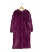 FRAY ID(フレイアイディー)の古着「ノーカラーエコファーコート」|パープル