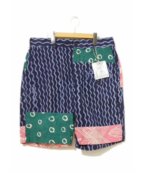 Engineered Garments(エンジニアードガーメンツ)Engineered Garments (エンジニアードガーメンツ) パッチワークショーツ ネイビー サイズ:M 19SS・×Post Imperial・Ghurka Short - St. Batikの古着・服飾アイテム