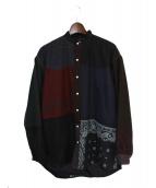 Children of the discordance(チルドレン オブ ザ ディスコーダンス)の古着「バンドカラーパッチシャツ」|ブラック