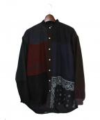 Children of the discordance(チルドレン オブ ザ ディスコーダンス)の古着「バンドカラーパッチシャツ」 ブラック
