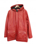 SUPREME(シュプリーム)の古着「14AW Hooded Leather Parka」 レッド