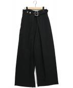 LIMI feu(リミフゥ)の古着「ギャバジンタックパンツ」 ブラック